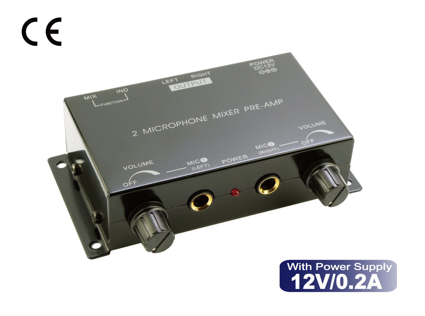 2-Microphone Mixer to AUX Preamplifier